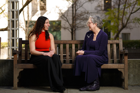 Jumana Esau with her mentor, Professor Fran Dolan, in Shields Library courtyard